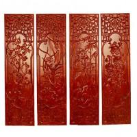 实木雕刻梅兰竹菊挂片