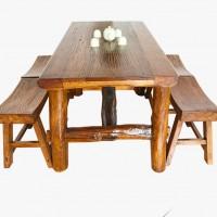 中式简约老榆木长方形四人座餐桌