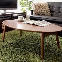 日式现代实木椭圆形茶几桌