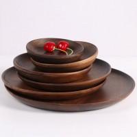 黑胡桃木圆形点心盘西餐盘