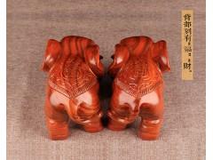 出售木雕工艺品实木木头大象摆件一对