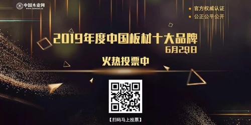 2019年度中国板材十大品牌网络评选活动进入投票阶段,快来为你心目中的优秀品牌投上一票吧!