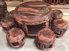出售大红酸枝节节高升鼓台桌椅7件套