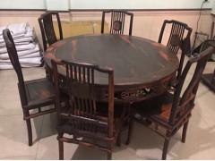 出售老挝大红酸枝梳背椅1.28米餐台