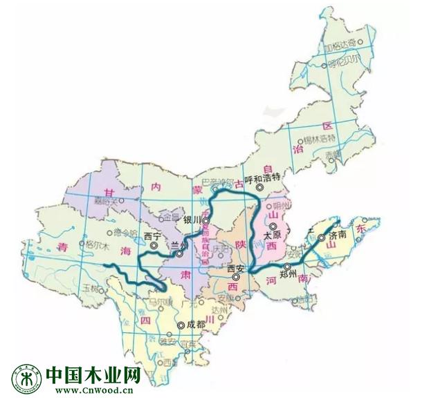 在中国地图上黄河流域