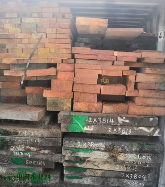 2019年二月底至三月初,在加蓬奥文多港口查获的重大案件中的鼓琴木(古夷苏木、大巴花)板枋材