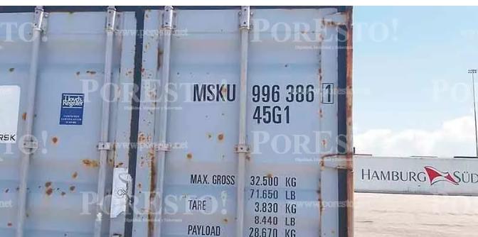 本次事件中的集装箱货柜的柜号和其内装运的非法石榴黄檀原木(墨西哥大红酸枝)