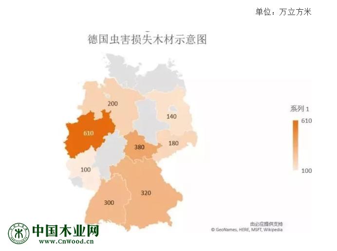 德国虫害损失木材示意图