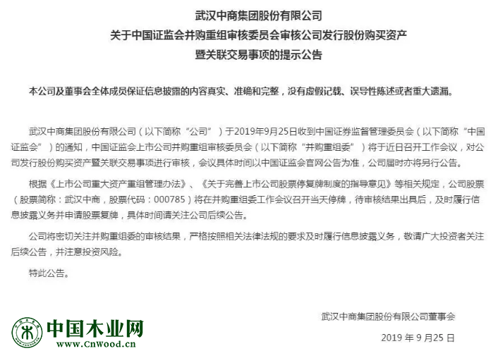 A股上市公司武汉中商公告