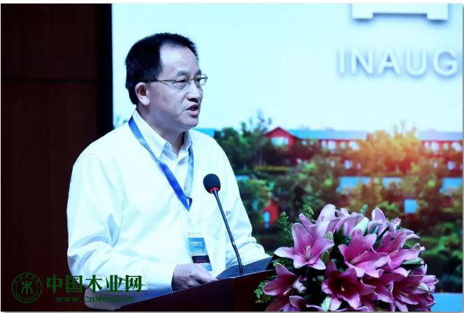 木材节约发展中心主任、中国木材与木制品流通协会会长、中国木材保护工业协会名誉会长刘能文先生致辞