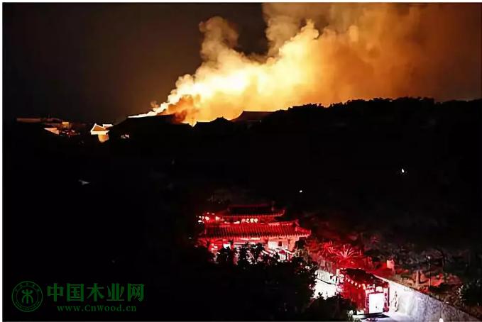 日本冲绳县那霸市的琉球王国都城遗址首里城火灾现场