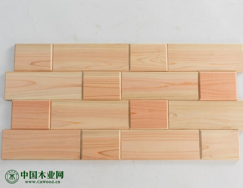 日本桧木马赛克艺术墙板电视背景墙板(无节有节)