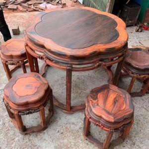 大红酸枝梅花桌7件套