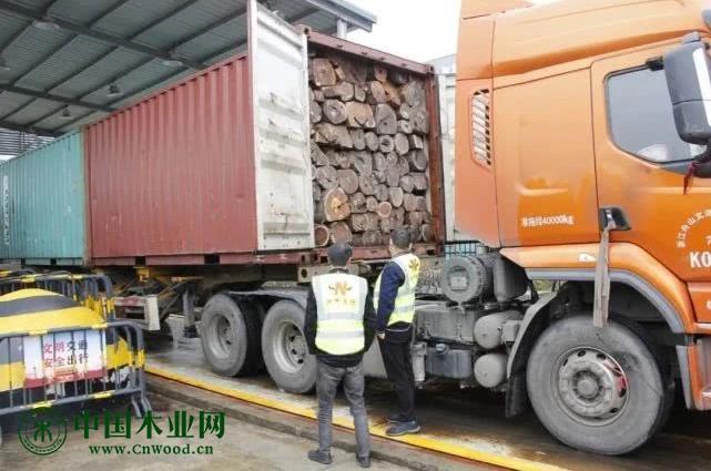 108柜木材今天入库东阳保税仓,助推木雕红木家具企业复工复产