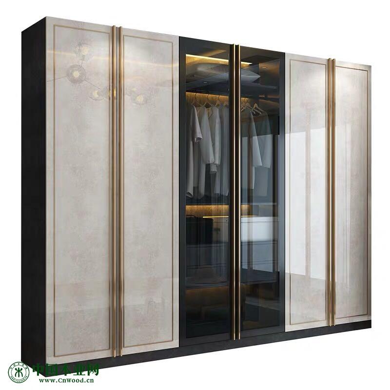 青岛新款轻奢亮光主卧定制衣橱大衣柜整体全屋定制极简玻璃平开门