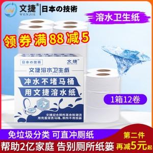 上海文捷纸卫生纸冲水纸卷筒纸厕纸易容环保商务大盘纸1箱