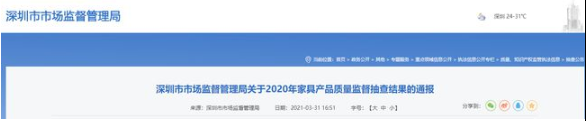 深圳市市场监督管理局:4批次家具甲醛释放量不合格