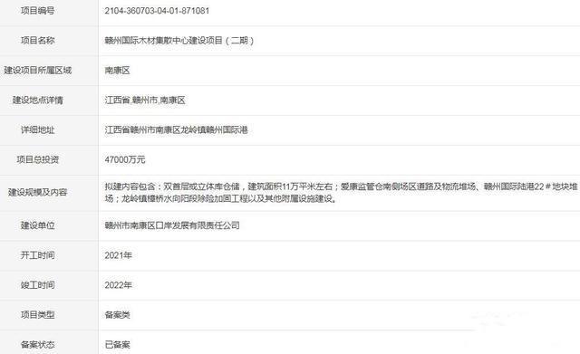 恒行2登录测速地址总投资4.7亿 赣州国际木材集散中心建设项目(二期)获备案