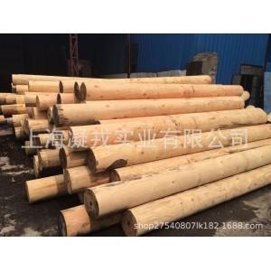 直供花旗松圆柱木材 松木防腐碳化木 古建园林木方 车圆加工
