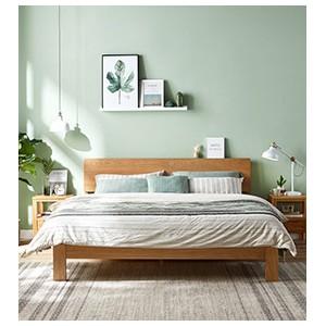 现代简约橡木双人床